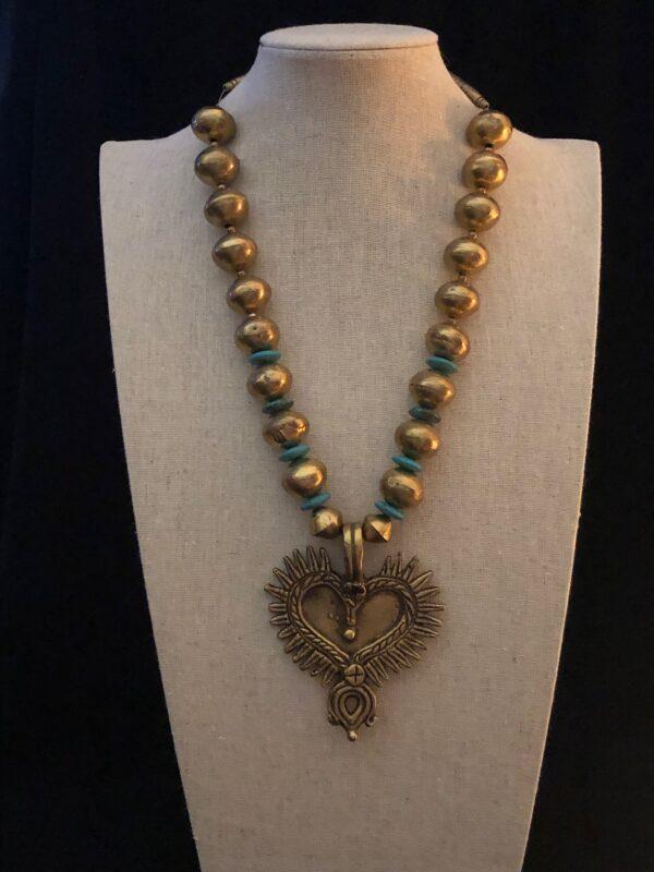pendant with large bronze bead