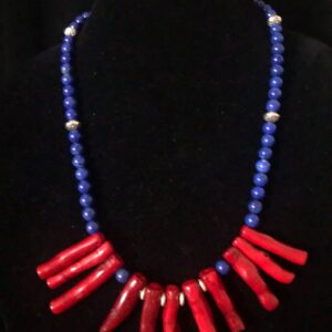Blue jade necklace with dyed coral and silver beads