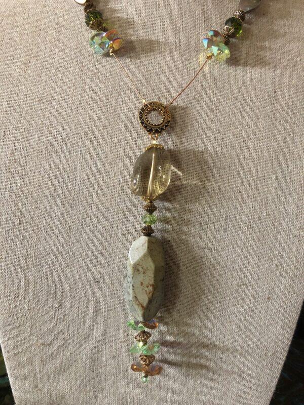Pendant is lemon crystal and jasper stones